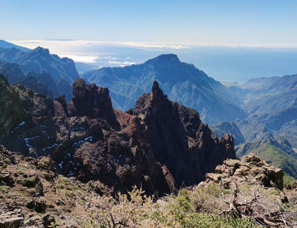 TREKKING GUIDATO AL ROQUE DE LOS MUCHACHOS vista-Caldera-e-Cumbre-Vieja